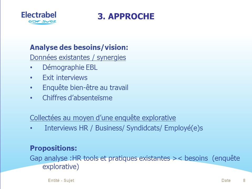 3. APProche Analyse des besoins/vision: Données existantes / synergies