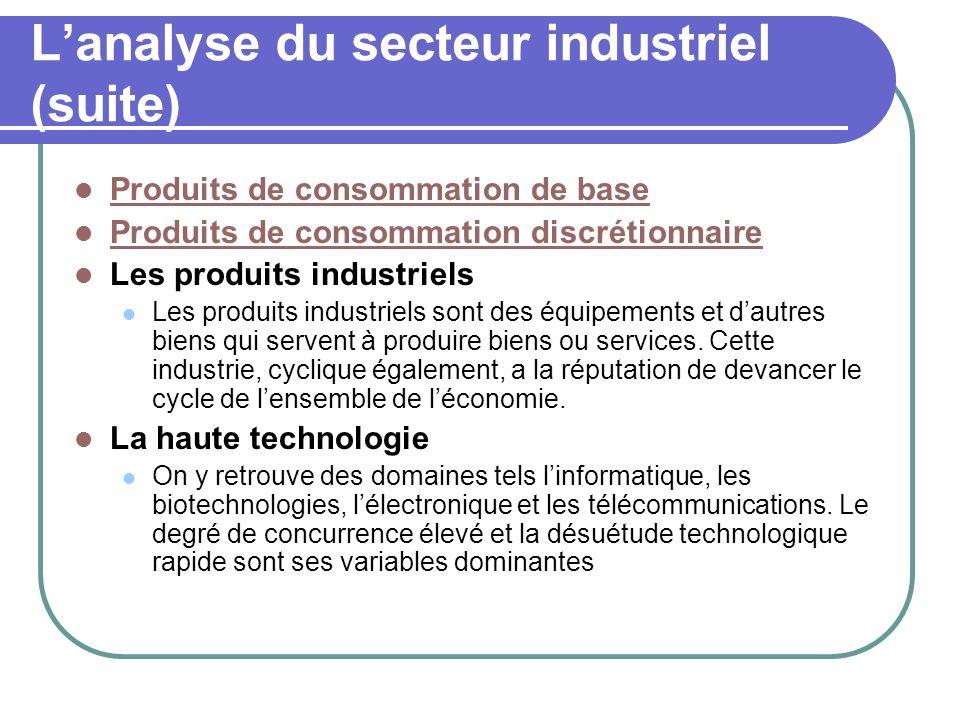 L'analyse du secteur industriel (suite)