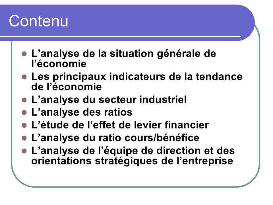 Contenu L'analyse de la situation générale de l'économie