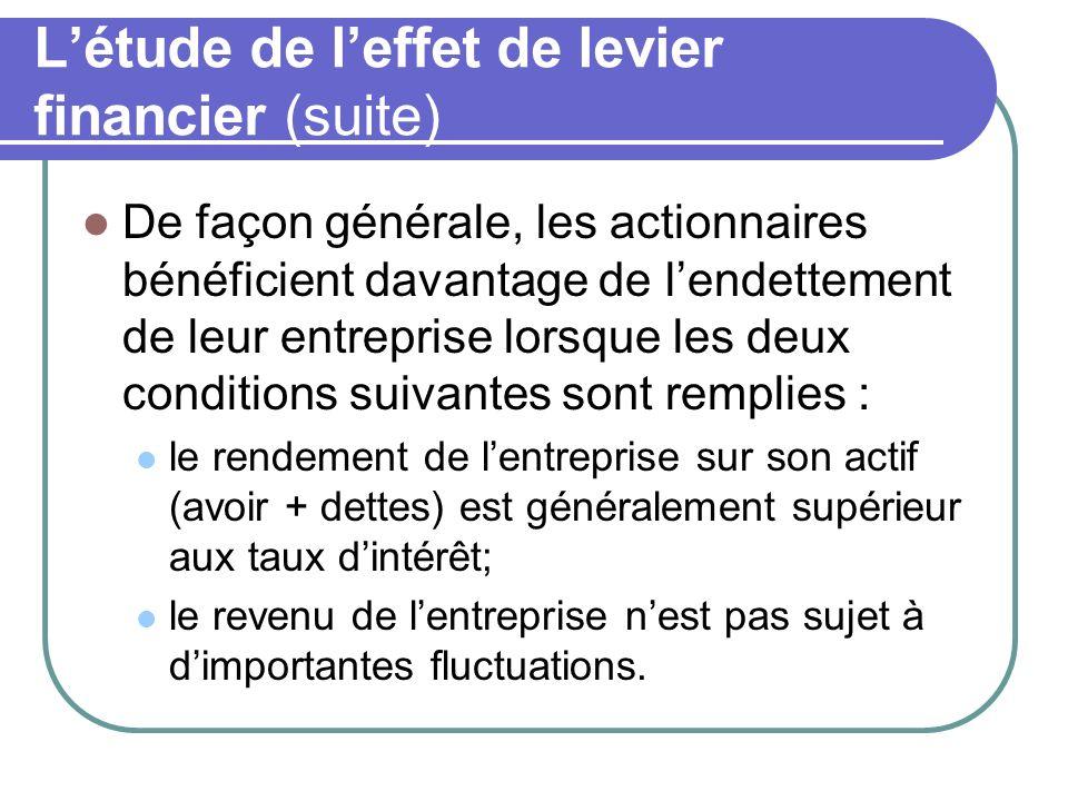 L'étude de l'effet de levier financier (suite)