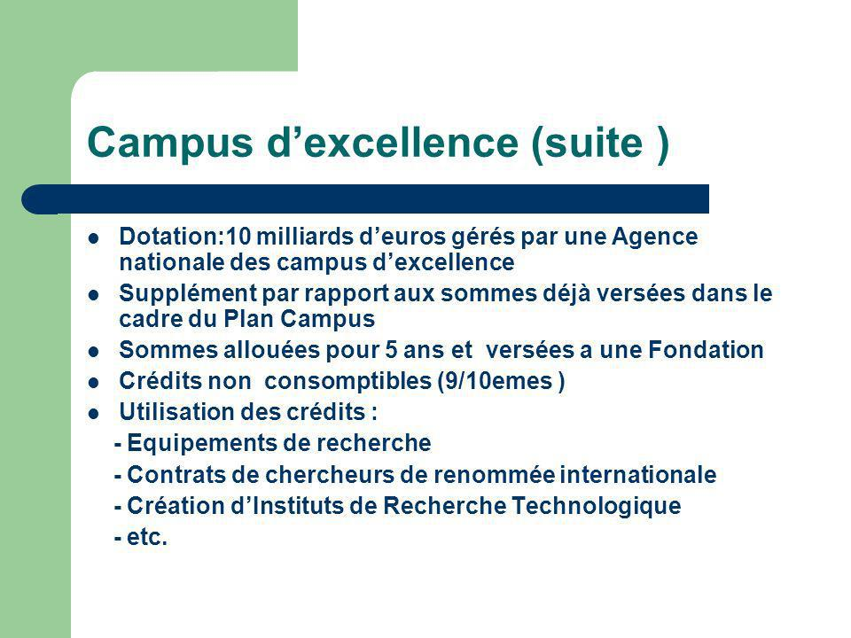 Campus d'excellence (suite )