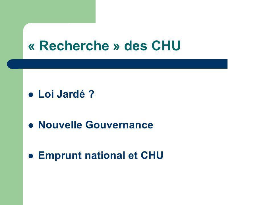 « Recherche » des CHU Loi Jardé Nouvelle Gouvernance