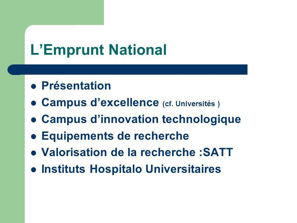 L'Emprunt National Présentation Campus d'excellence (cf. Universités )