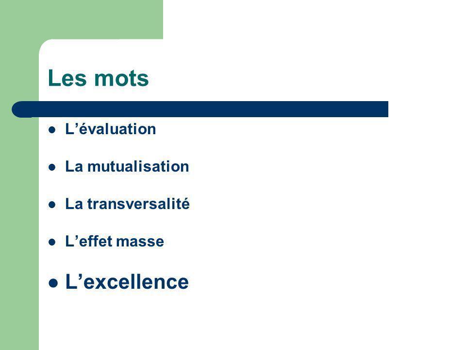 Les mots L'excellence L'évaluation La mutualisation La transversalité