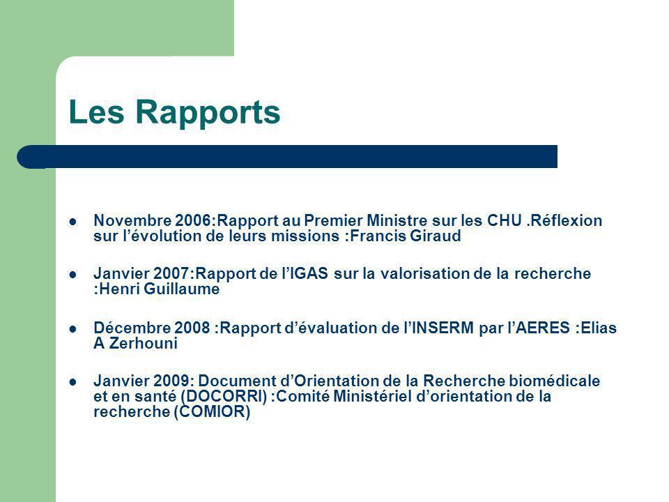 Les Rapports Novembre 2006:Rapport au Premier Ministre sur les CHU .Réflexion sur l'évolution de leurs missions :Francis Giraud.