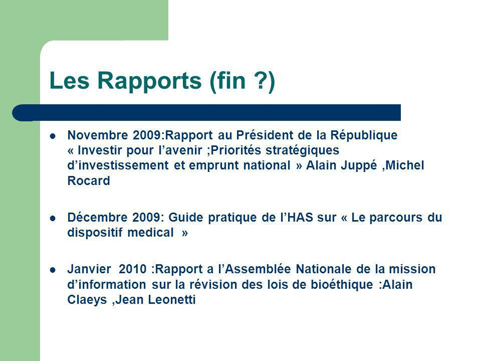 Les Rapports (fin )