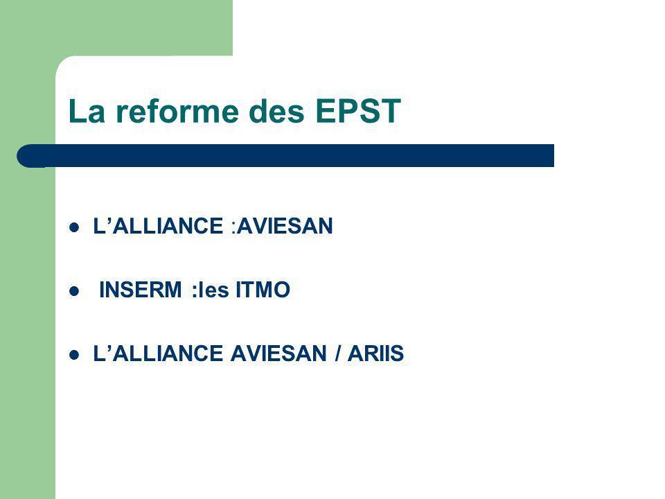 La reforme des EPST L'ALLIANCE :AVIESAN INSERM :les ITMO