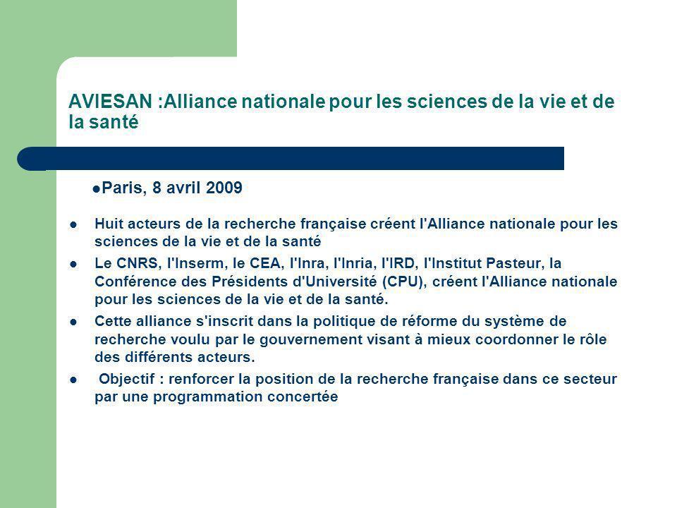 AVIESAN :Alliance nationale pour les sciences de la vie et de la santé