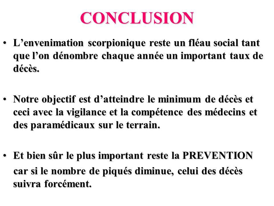 CONCLUSION L'envenimation scorpionique reste un fléau social tant que l'on dénombre chaque année un important taux de décès.