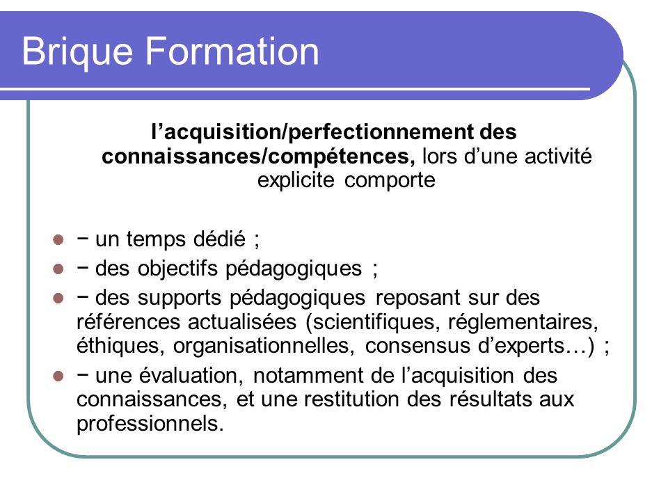 Brique Formation l'acquisition/perfectionnement des connaissances/compétences, lors d'une activité explicite comporte.