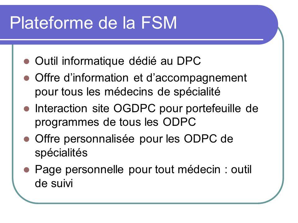 Plateforme de la FSM Outil informatique dédié au DPC