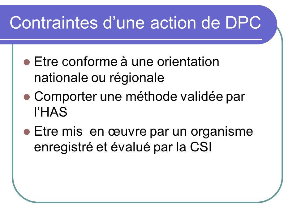 Contraintes d'une action de DPC
