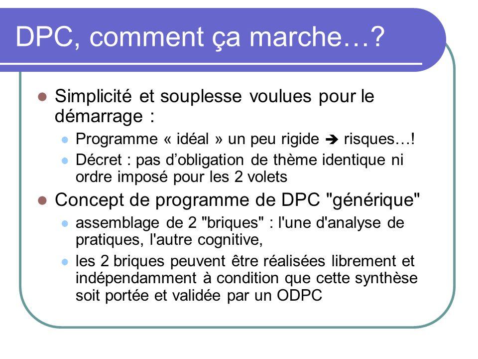 DPC, comment ça marche… Simplicité et souplesse voulues pour le démarrage : Programme « idéal » un peu rigide  risques…!