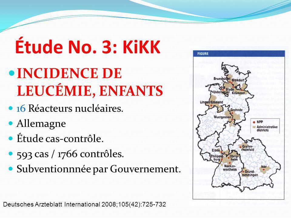 Étude No. 3: KiKK INCIDENCE DE LEUCÉMIE, ENFANTS