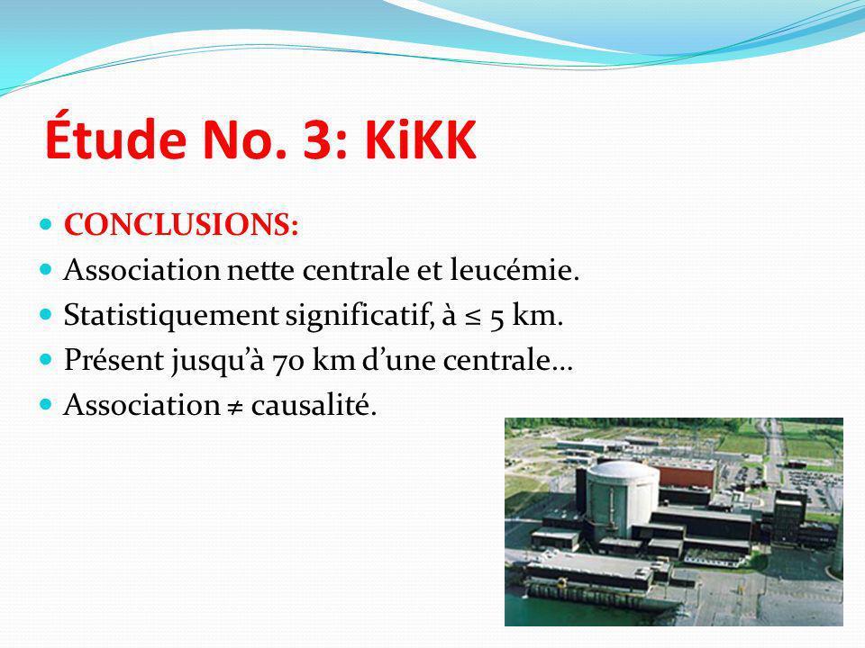 Étude No. 3: KiKK CONCLUSIONS: Association nette centrale et leucémie.