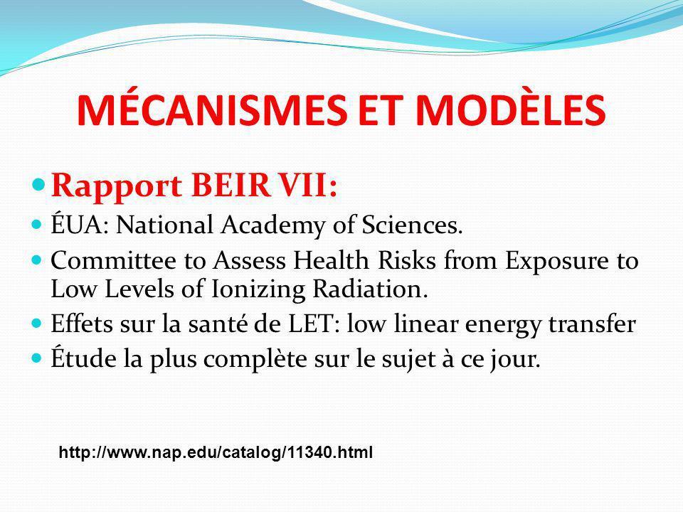 MÉCANISMES ET MODÈLES Rapport BEIR VII: