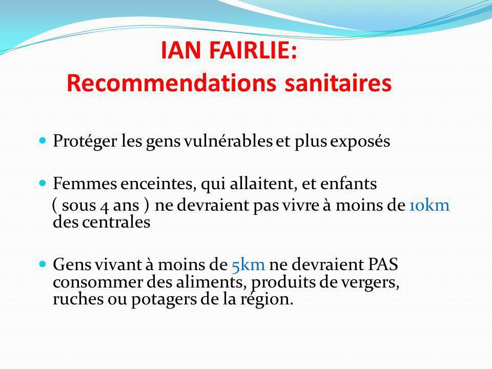 IAN FAIRLIE: Recommendations sanitaires