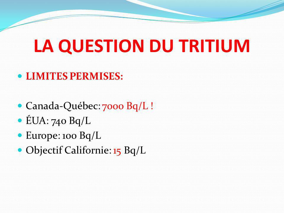 LA QUESTION DU TRITIUM LIMITES PERMISES: Canada-Québec: 7000 Bq/L !