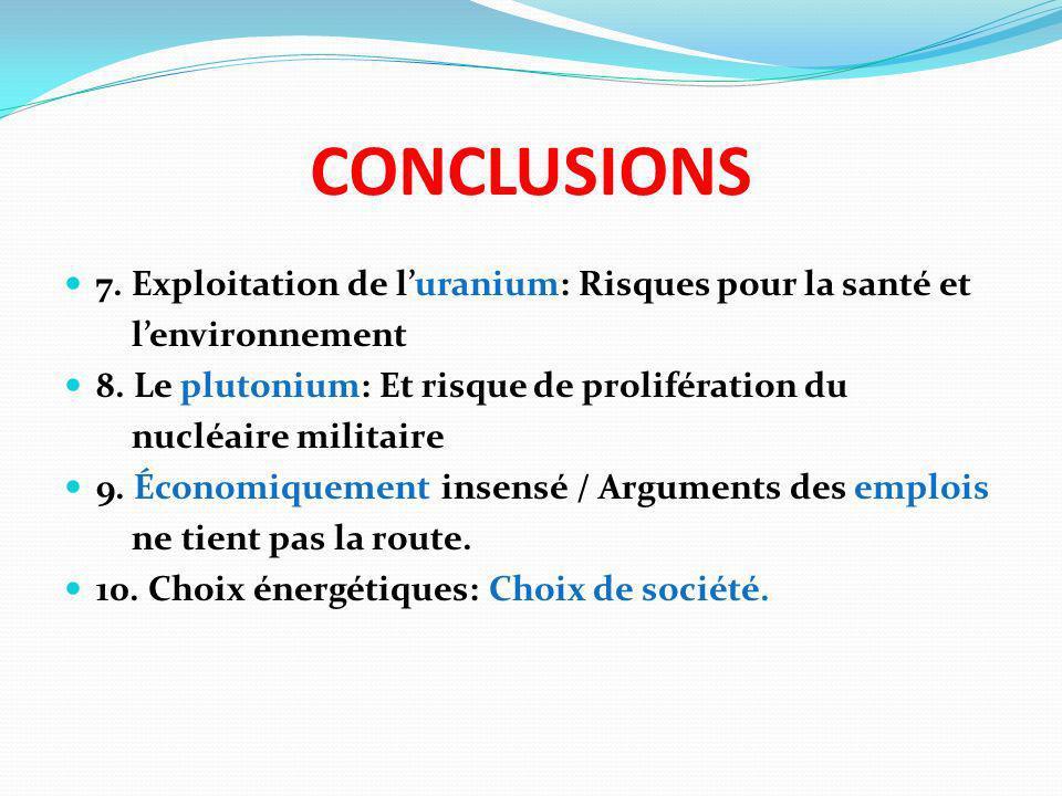 CONCLUSIONS 7. Exploitation de l'uranium: Risques pour la santé et