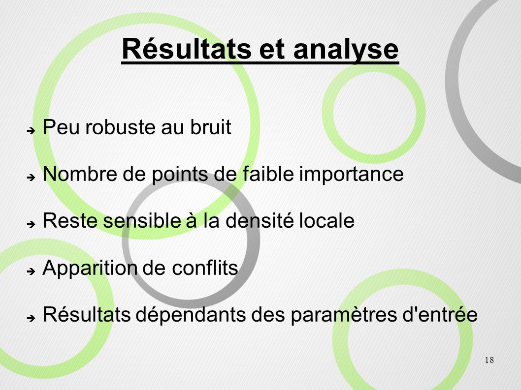 Résultats et analyse Peu robuste au bruit