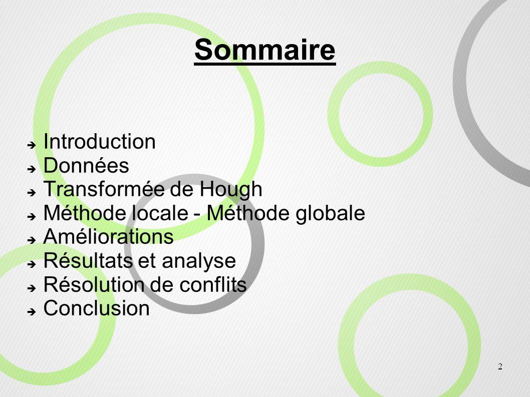 Sommaire Introduction Données Transformée de Hough