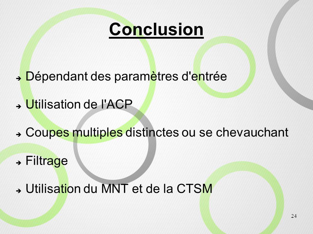 Conclusion Dépendant des paramètres d entrée Utilisation de l ACP