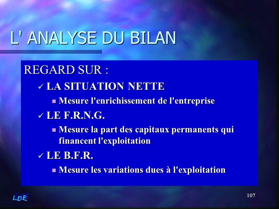 L ANALYSE DU BILAN REGARD SUR : LA SITUATION NETTE LE F.R.N.G.