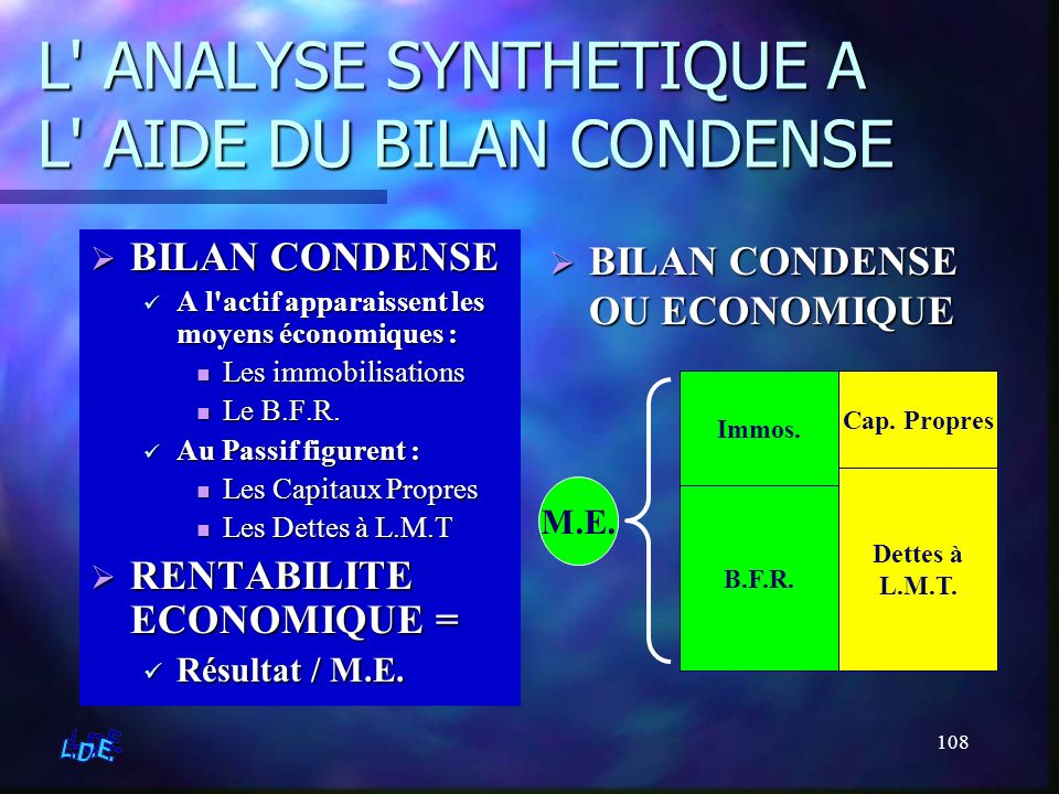 L ANALYSE SYNTHETIQUE A L AIDE DU BILAN CONDENSE