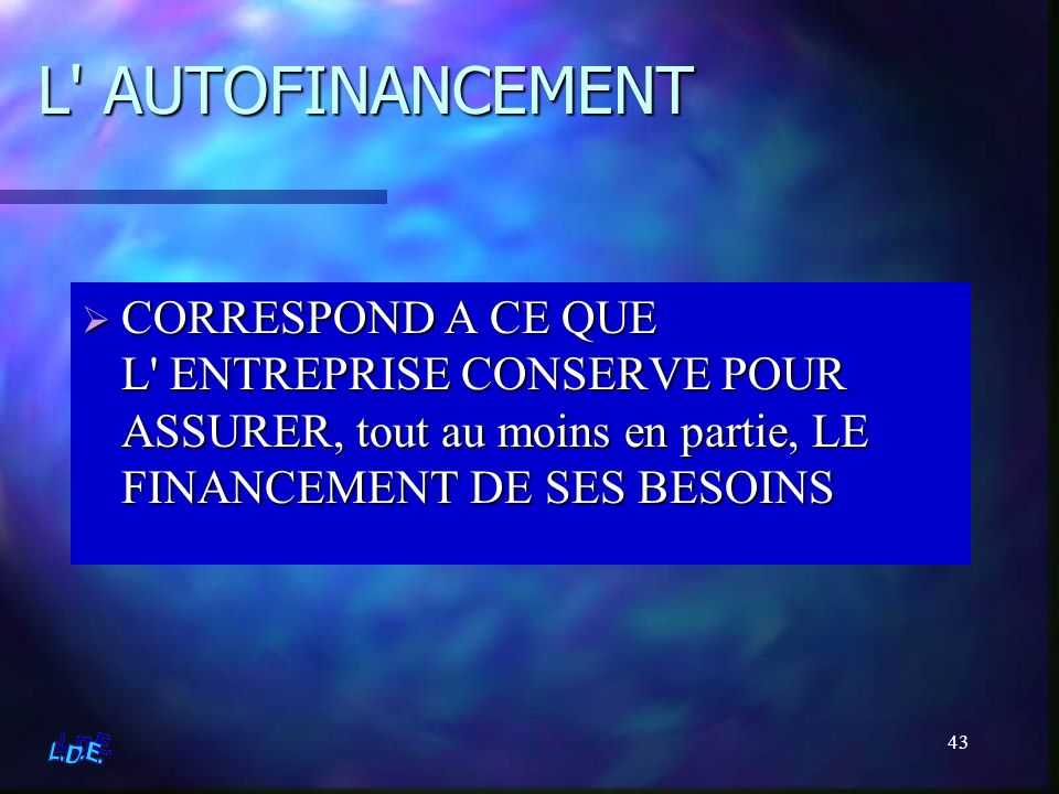 L AUTOFINANCEMENT