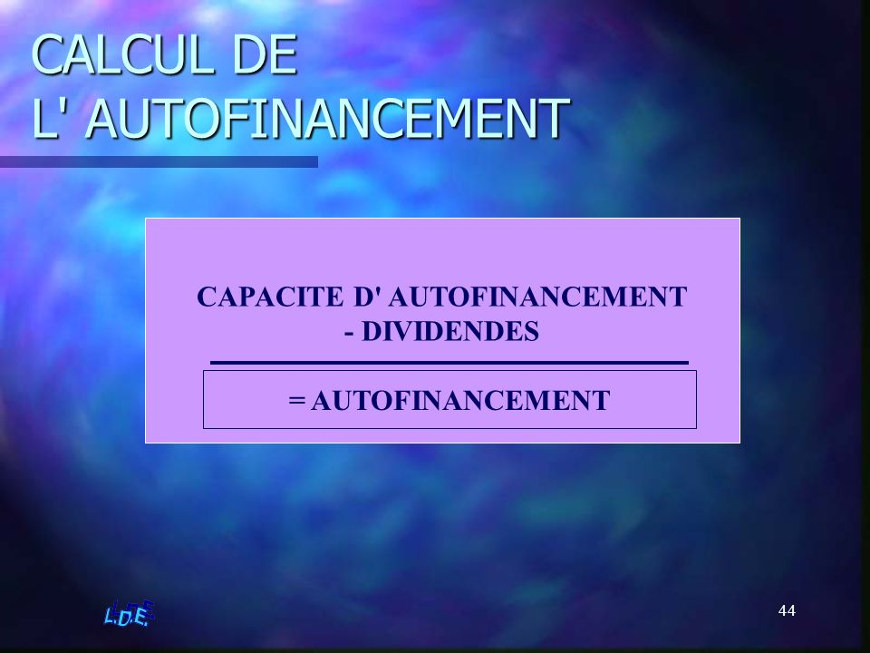 CALCUL DE L AUTOFINANCEMENT
