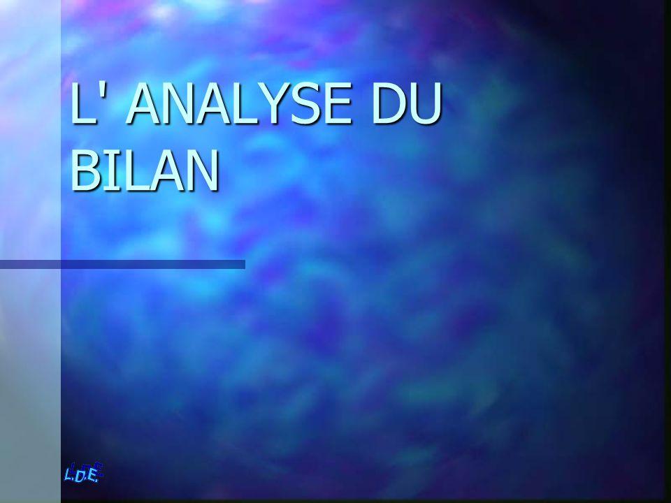 L ANALYSE DU BILAN L ANALYSE DU BILAN Présentation du bilan P 53