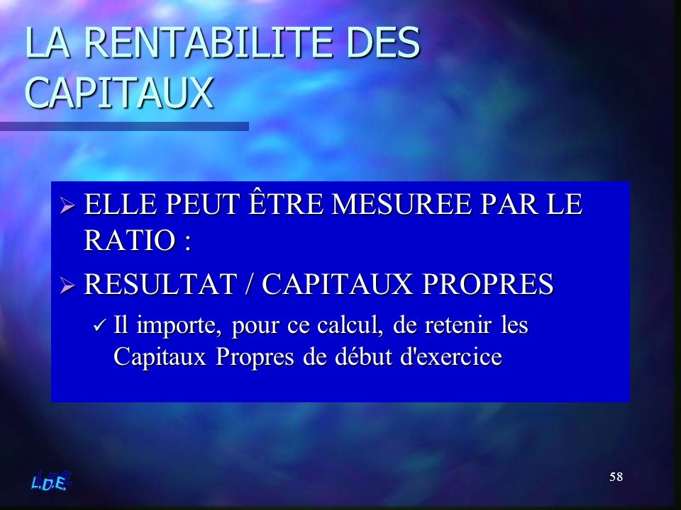 LA RENTABILITE DES CAPITAUX