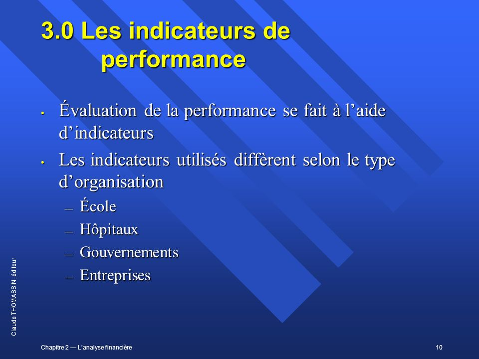3.0 Les indicateurs de performance