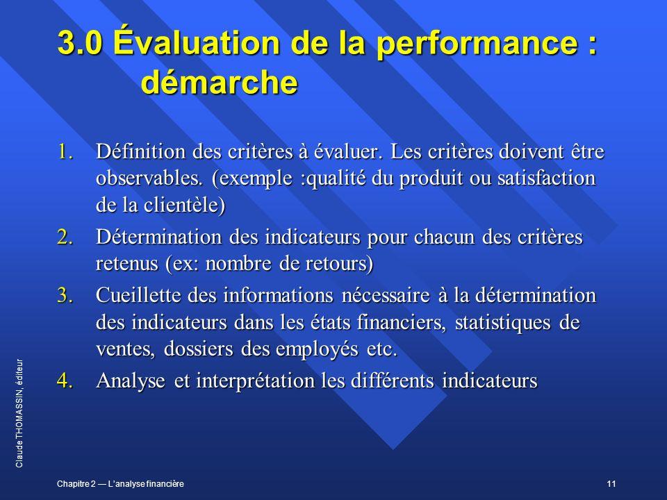 3.0 Évaluation de la performance : démarche
