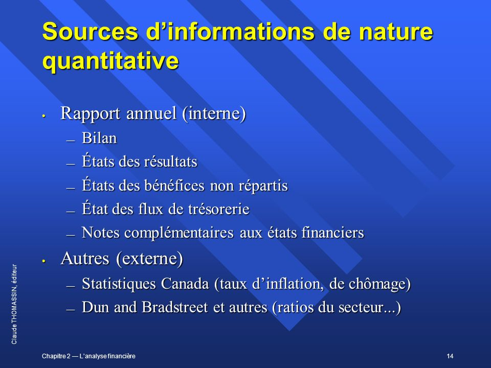 Sources d'informations de nature quantitative