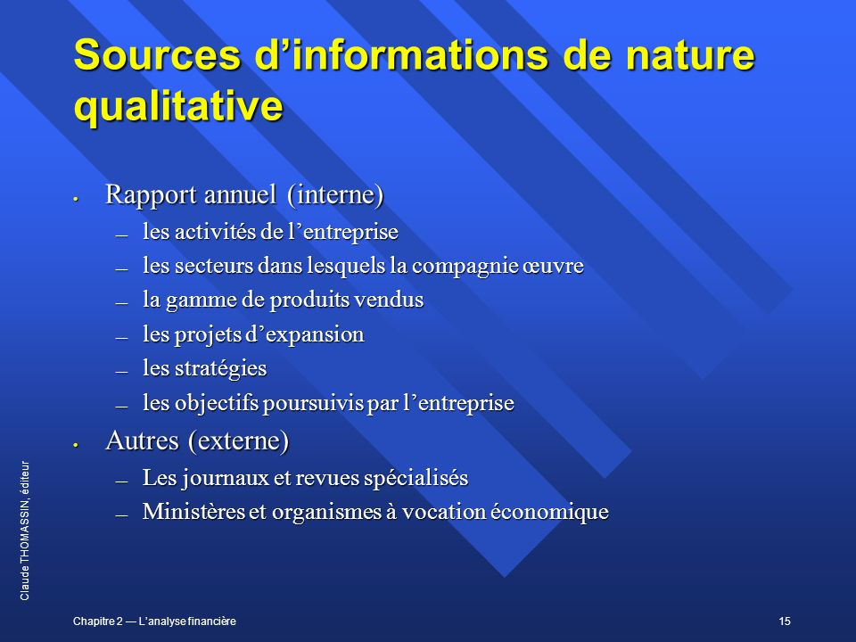 Sources d'informations de nature qualitative