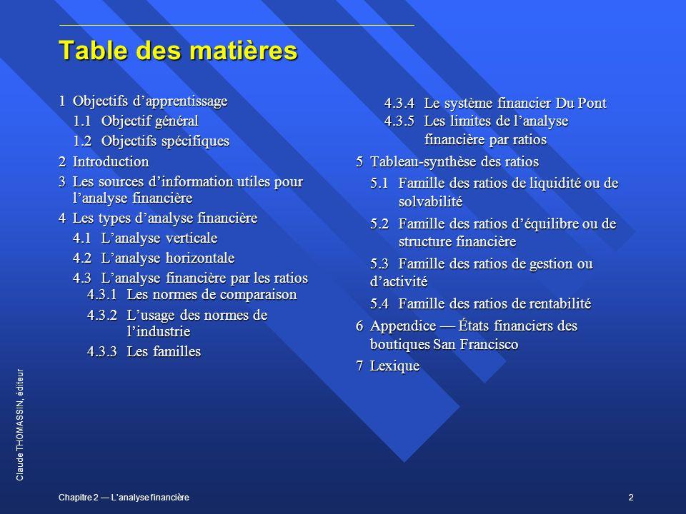 Table des matières 1 Objectifs d'apprentissage 1.1 Objectif général