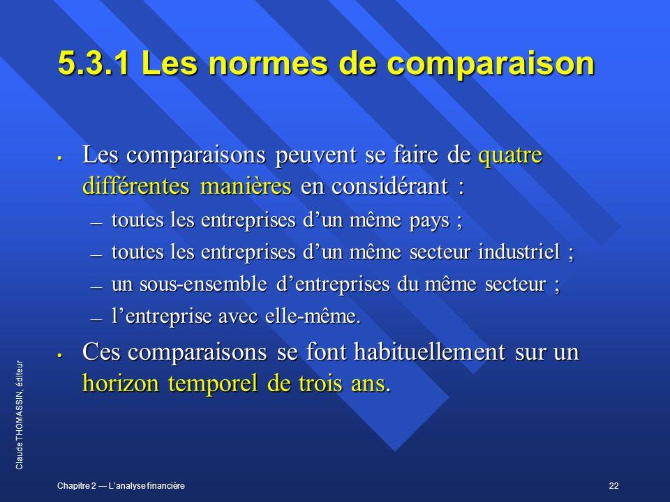 5.3.1 Les normes de comparaison