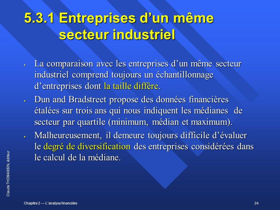 5.3.1 Entreprises d'un même secteur industriel