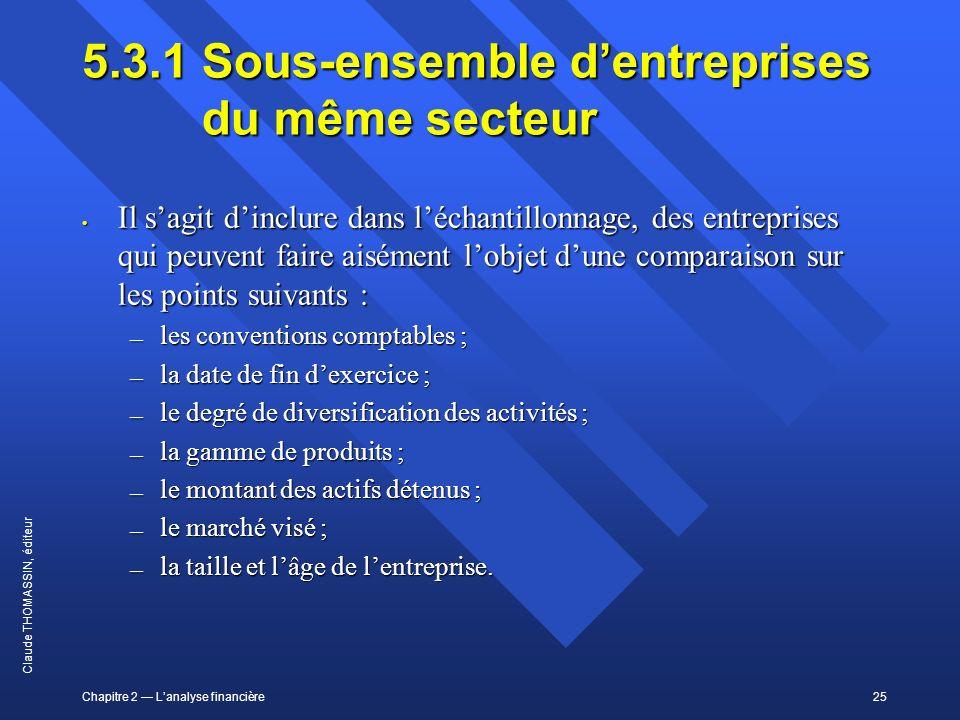 5.3.1 Sous-ensemble d'entreprises du même secteur