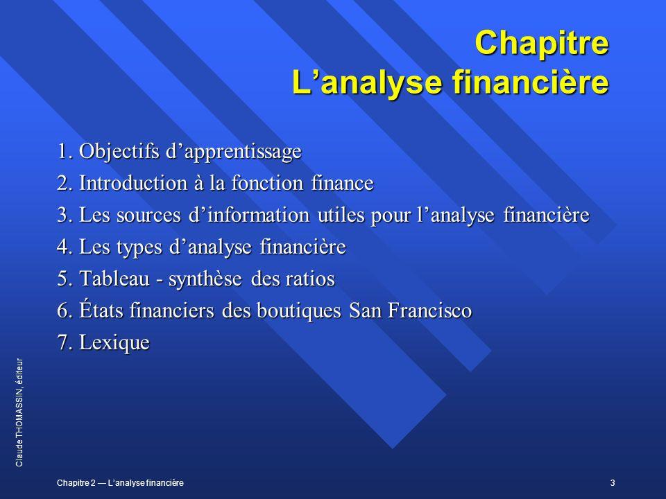 Chapitre L'analyse financière