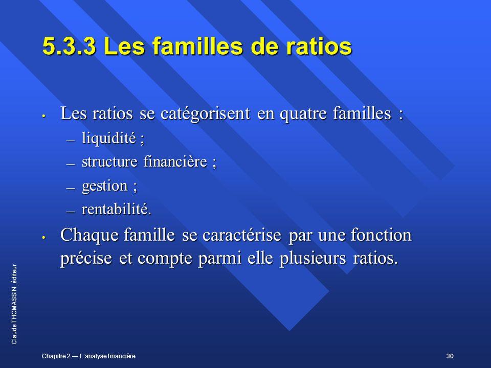 5.3.3 Les familles de ratios Les ratios se catégorisent en quatre familles : liquidité ; structure financière ;