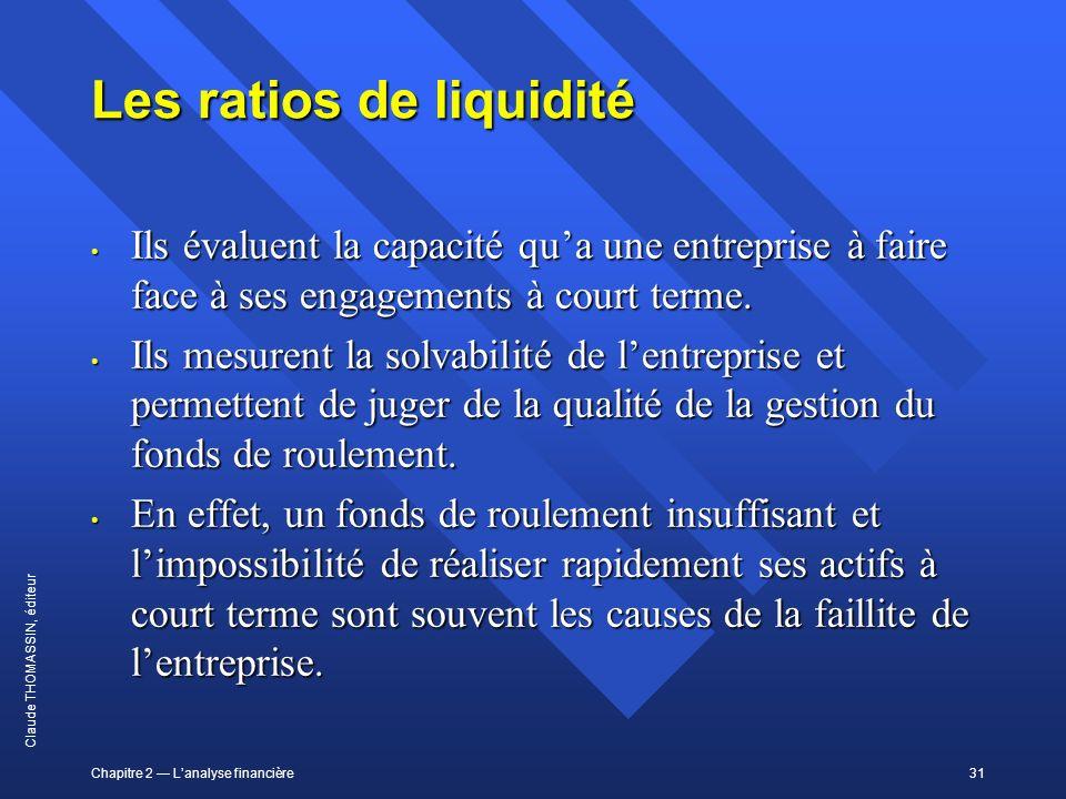 Les ratios de liquidité