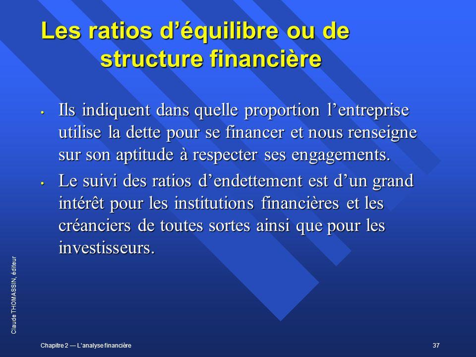 Les ratios d'équilibre ou de structure financière