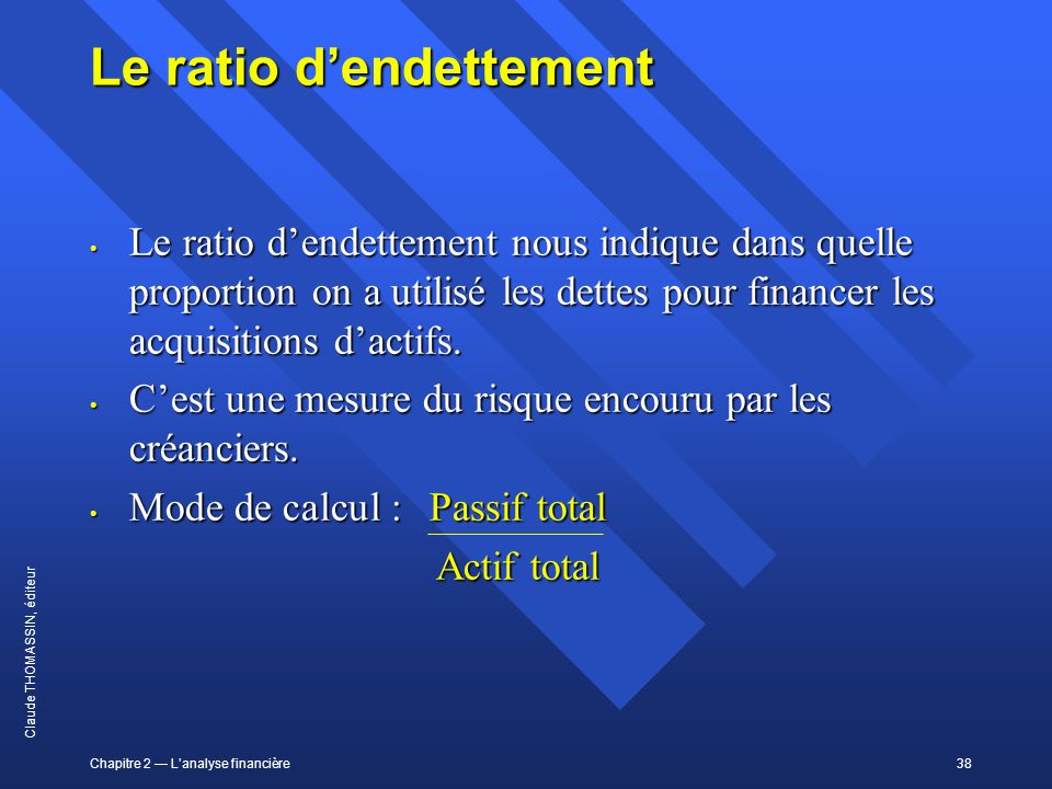 Le ratio d'endettement