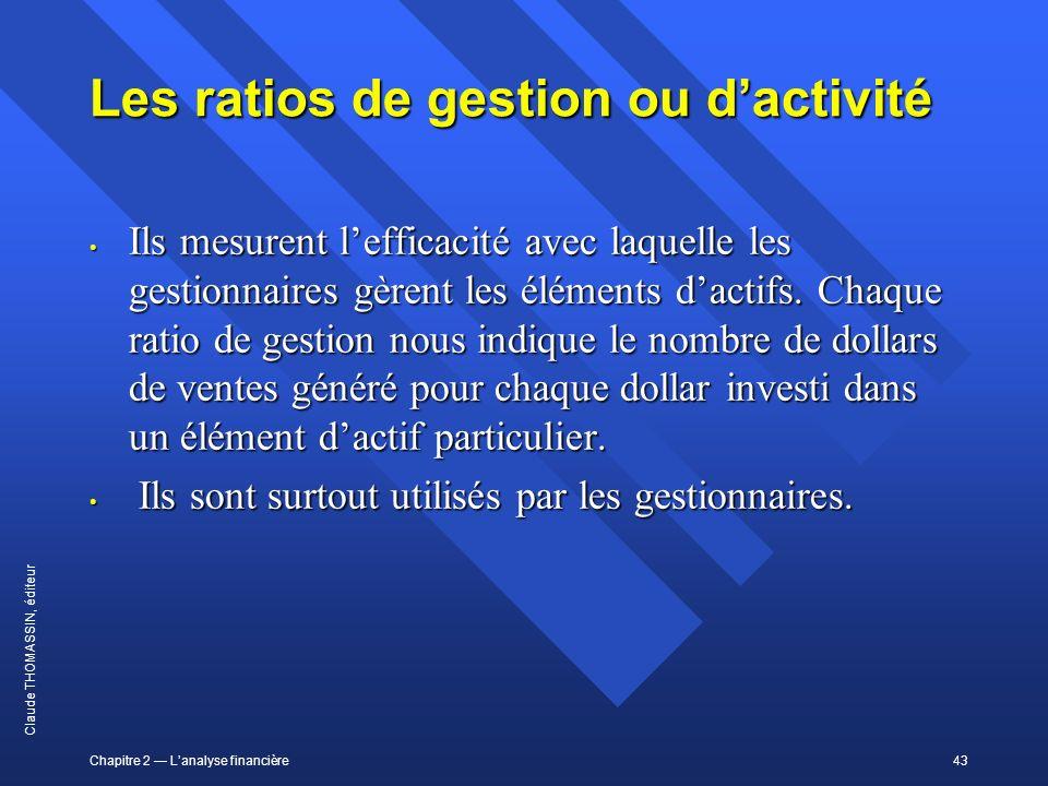 Les ratios de gestion ou d'activité