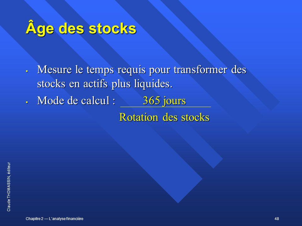 Âge des stocks Mesure le temps requis pour transformer des stocks en actifs plus liquides. Mode de calcul : 365 jours.