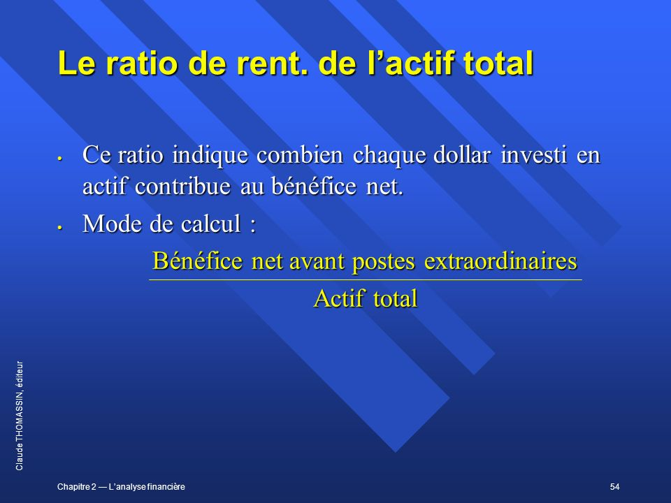 Le ratio de rent. de l'actif total