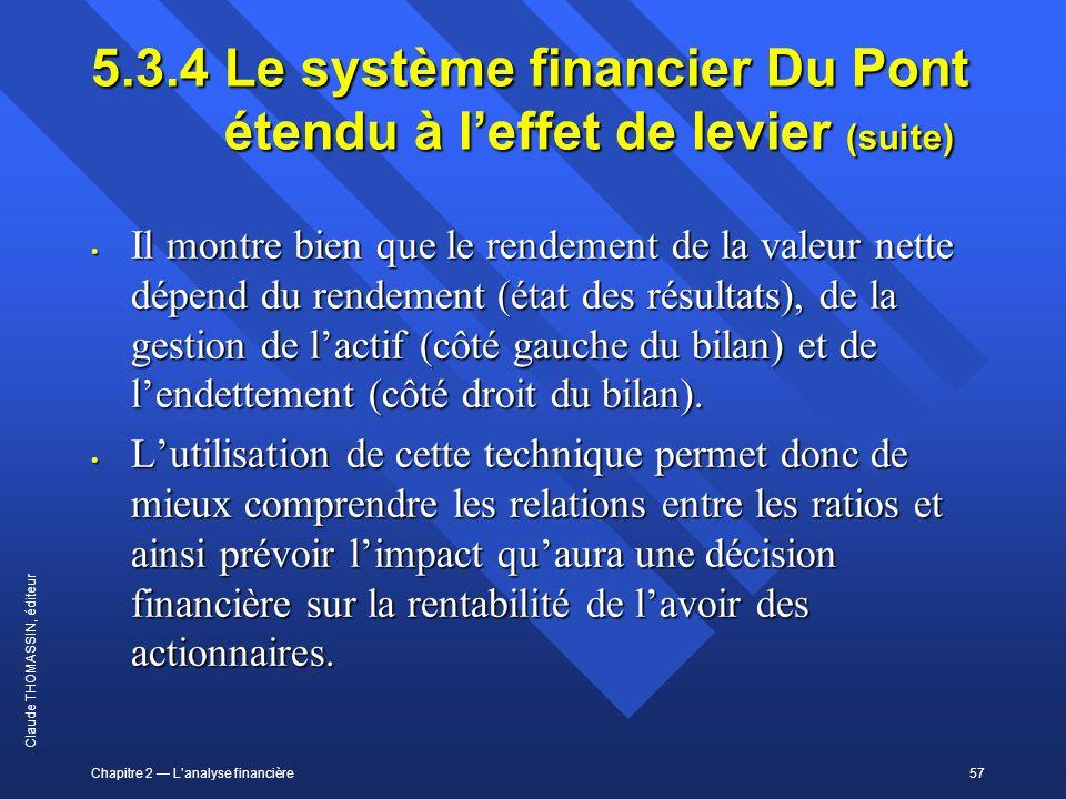 5.3.4 Le système financier Du Pont étendu à l'effet de levier (suite)
