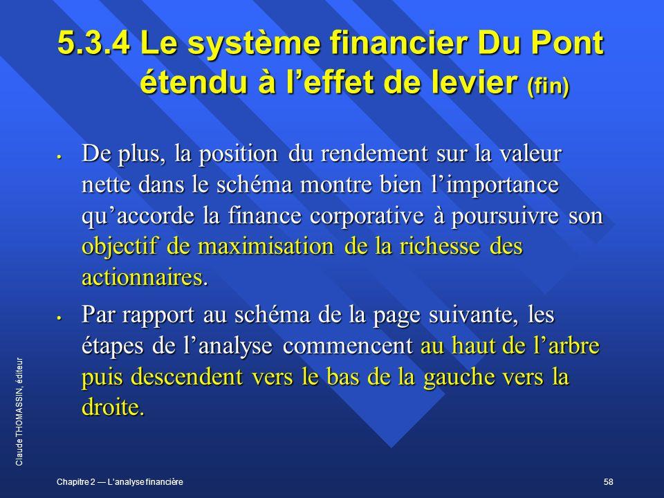 5.3.4 Le système financier Du Pont étendu à l'effet de levier (fin)